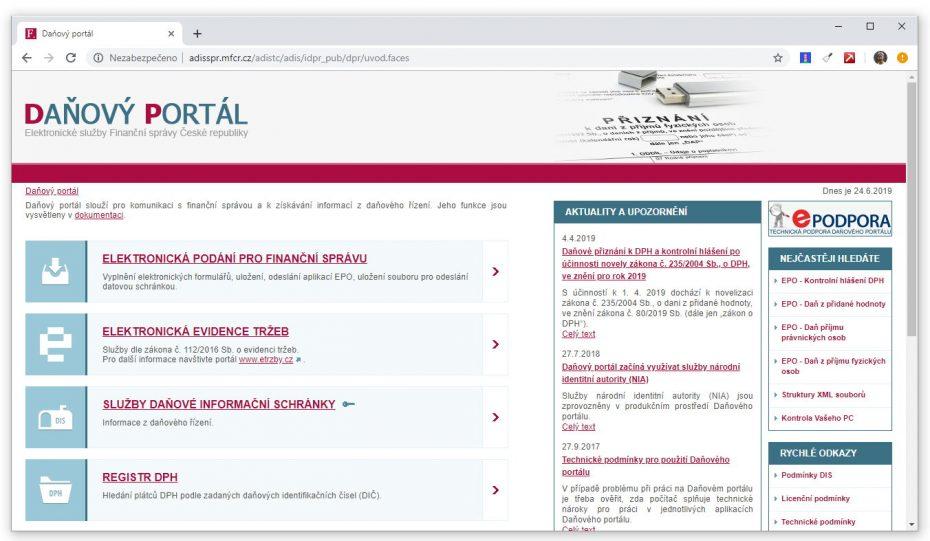 Náhled aktuální podoby Daňového portálu v roce 2019